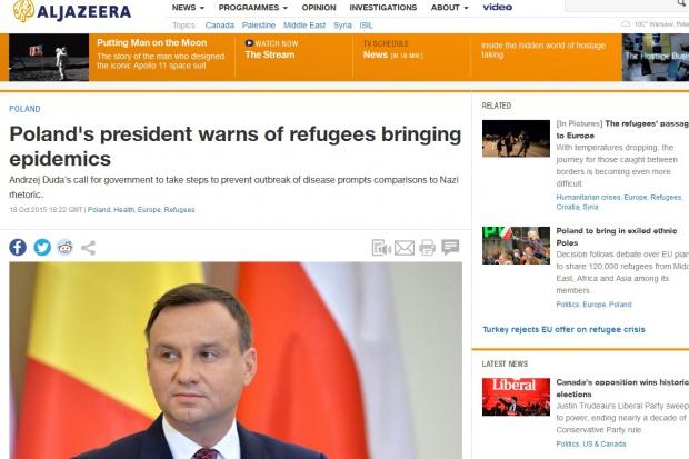 """Duda i """"epidemie od uchodźców"""" w światowych mediach"""