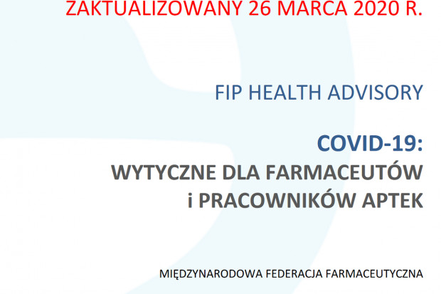COVID-19: najnowsze wytyczne FIP dla farmaceutów