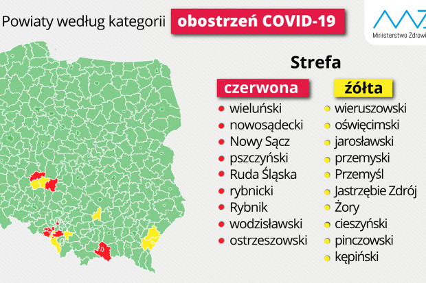 Polska podzielona na strefy: jakie obostrzenia epidemiczne w nich obowiązują?