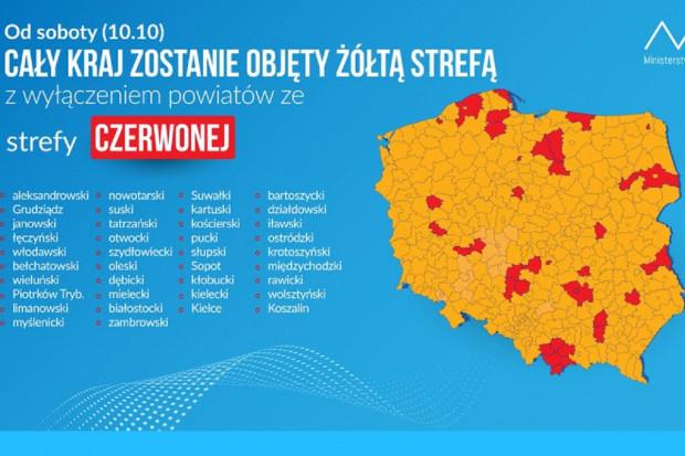 Cała Polska podzielona na strefy żółtą i czerwoną